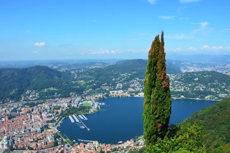 Como Lake view from Brunate, Italy Archivio Fotografico