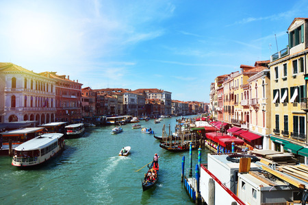 talian: Grand Canal Venice, The Grand Canal seen from Rialto Bridge in a sunny day with with ferries and gondolas, Venice, Italy summer 2016
