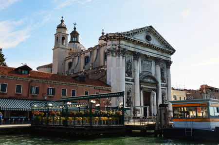 gave: Church of Santa Maria del Rosario gave the Gesuati with restaurant on lagoon and ferry stop Zattere, Venice, Italy, summer 2016