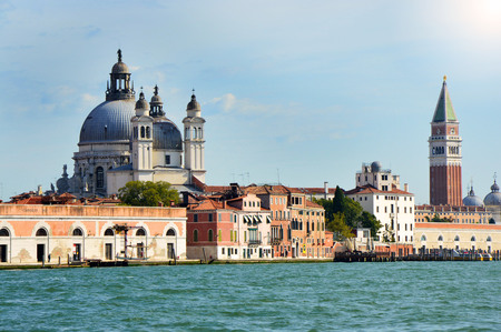 Grand Canal with St. Mark campanile bell tower and Basilica of Saint Mary of Health in Venice, Italy, summer 2016 Editorial