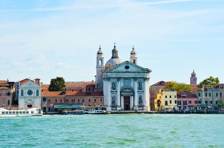 gave: Canal Grande with church of Santa Maria della Visitazione and church of Santa Maria del Rosario gave the Gesuati, Venice, Italy, summer 2016