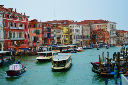 Grand Canal Venice, The Grand Canal seen from Rialto Bridge in a sunny day with with ferries and gondolas, Venice, Italy summer 2016