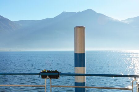 misterious: View of Lake Iseo, Lovere, Italy Stock Photo