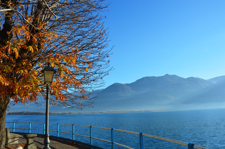 misterious: Marvelous view of Lake Iseo, Lovere, Italy Stock Photo