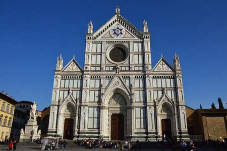 Unidentified persons visit the Basilica di Santa Croce in Florence, Italy