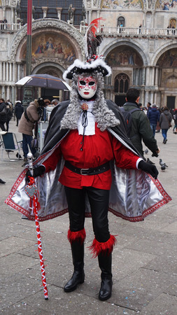Masked participant in The Carnival of Venice, an annual festival that starts around two weeks before Ash Wednesday and ends on Mardi Gras on February 23, 2017 in Venice, Italy.