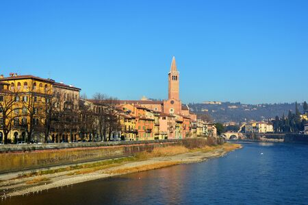 blessed trinity: Verona tower of SantAnastasia church in the winter, Italy