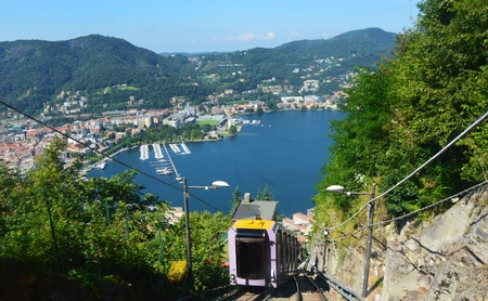 Funicular climbing from Lake Como, amazing view from Brunate, Como, Italy
