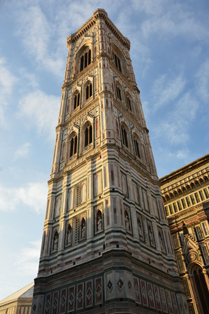 Giotto campanile bell tower of cathedral, at sunset, Florence, Italy