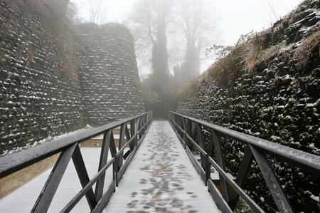 Bridge with snow, winter landscape Stock Photo