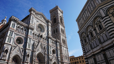 Florence, Italy: Baptistery of San Giovanni and the Basilica di Santa Maria del Fiore with Giotto bell tower and Brunelleschi dome