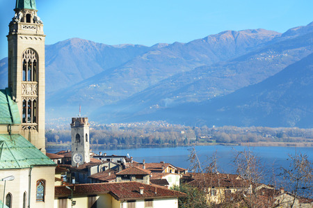 View with tower church in Lovere town, Italy Stock Photo