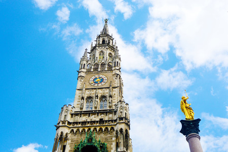 Tower in New Town Hall at Marienplatz in Munich, Bavaria, Germany