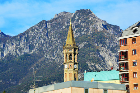 water bus: Detail of the tower in Lecco town, Lombardy Italy