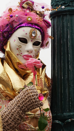 Mask participant in The Carnival of Venice, an annual festival that starts around two weeks before Ash Wednesday and ends on Mardi Gras on February 23, 2017 in Venice, Italy. Stock Photo