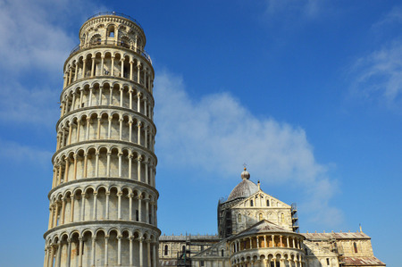 Pisa Cathedral (Duomo of Pisa) with the Leaning Tower of Pisa on Piazza dei Miracoli in Pisa, Tuscany, Italy