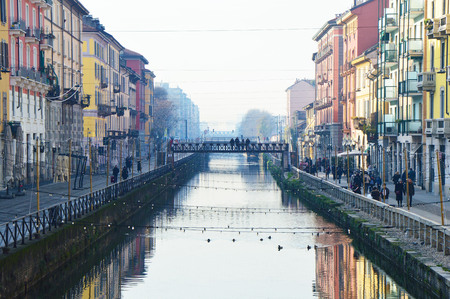 navigable: The navigable system of navigable and interconnected canals around Milan, Italy.