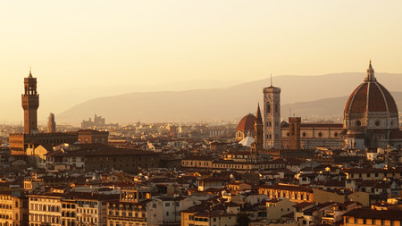 Amazing sunset panorama of Florence with Cathedral of Saint Mary of the Flower (Santa Maria del Fiore), Florence, Italy