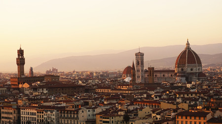 Amazing sunset panorama of Florence with Palazzo Vecchio palace and Cathedral of Saint Mary of the Flower (Santa Maria del Fiore), Florence, Italy