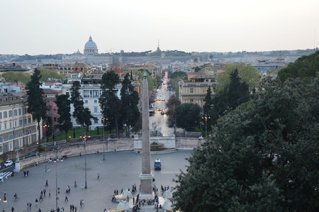 st peter s square: Piazza del Popolo view from Pincio terrace with St. Peters Basilica on the background, Rome, Italy