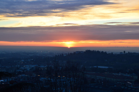 Panorama of Bergamo City, Sunset, Lombardy Italy Stock Photo