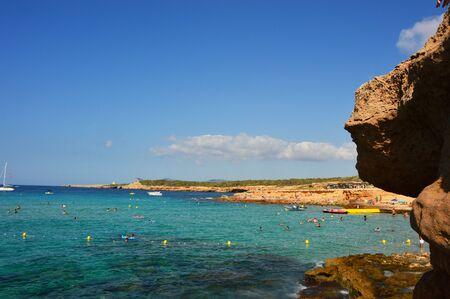 Spectacular view from Ibiza Cala Comte, amazing rocky beach with crystalline water, natural paradisiac scenery, Ibiza island, Spain, holidays summer 2016