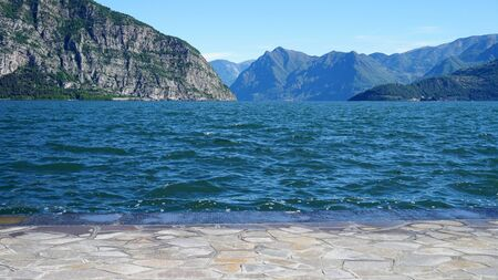 Beautiful view on Lake Iseo and mountains from Iseo town, Italy