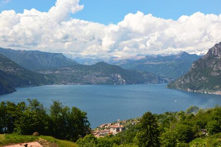 Lake panorama from Monte Isola, Lake Iseo, Italy