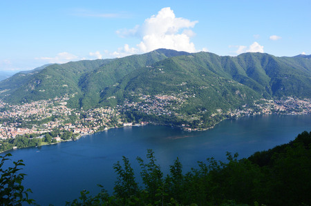 Spectacular viewpoint of Lake Como from the top of Brunate, Como, Italy