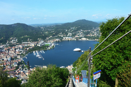 Amazing view of funicular railway on Como Lake, Brunate, Como, Italy