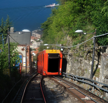 BRUNATE, ITALY - MAY 14, 2017: Amazing view of funicular on Lake Como climbing railway to Brunate, Como, Italy