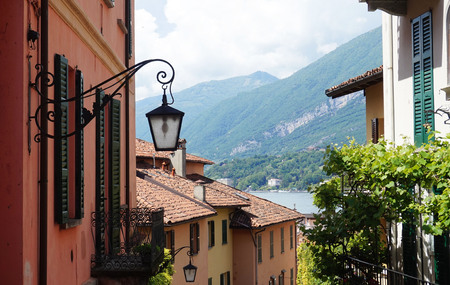 BELLAGIO, ITALY - MAY 14, 2017: tourists in Salita Serbelloni picturesque small town street view in Bellagio, Lake Como, Italy