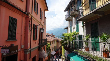 Detail of old scenic streets Salita Serbelloni in Bellagio, picturesque small town street view on Lake Como, Italy Stock Photo