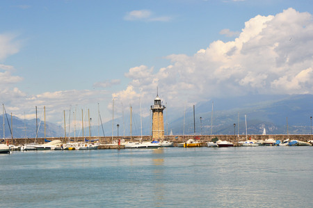Panorama from Desenzano castle on Lake Garda with the harbor and the lighthouse, Desenzano del Garda, Italy