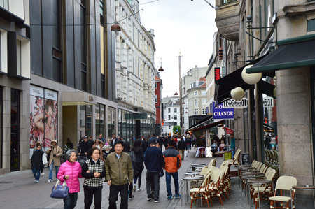 str: COPENHAGEN, DENMARK - MAY 31, 2017: main street in Strøget, a pedestrian, car free shopping area in Copenhagen. This tourist attraction is one of the longest pedestrian shopping streets in Europe
