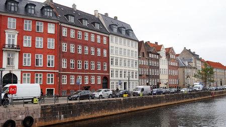 COPENHAGEN, DENMARK - MAY 31, 2017: View of Nybrogade Street and canal from Vindebrogade Street, Copenhagen, Denmark