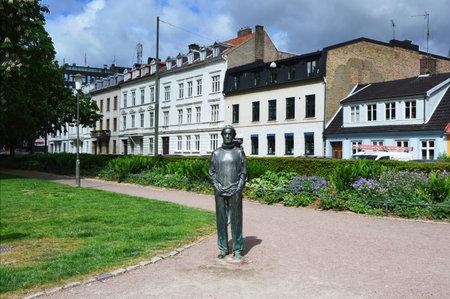 MALMO, SWEDEN - MAY 31, 2017: Statue Det Svenska tungsinnet in Altonaparken park designed by Marie-Louise Ekman in Malmo, Sweden
