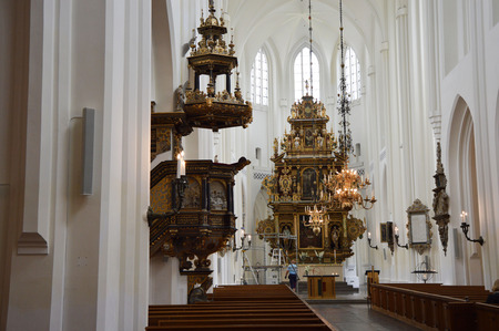 MALMO, SWEDEN - MAY 31, 2017: Interior of the church of Sankt Petri kyrka, a large church in Malmö, Sweden