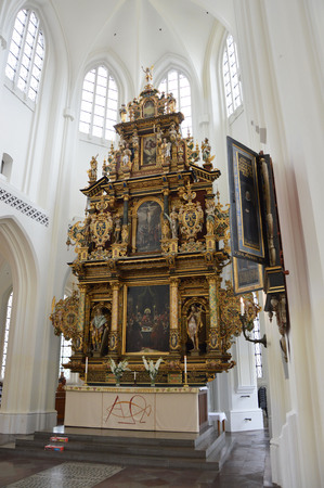 MALMO, SWEDEN - MAY 31, 2017: Interior of the church of Sankt Petri kyrka, a large church in Malmö, Sweden Editorial
