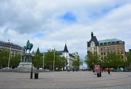 MALMO, SWEDEN - MAY 31, 2017: Stortorget square with the equestrian statue of King Karl X Gustav, Malmo, Sweden