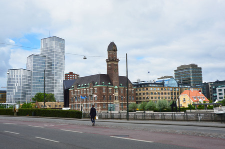 frans: MALMO, SWEDEN - MAY 31, 2017: view of the Malmo city from Norra Vallgatan street, Malmo, Sweden