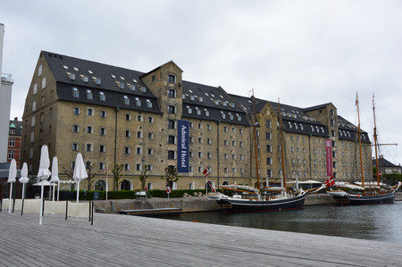 COPENHAGEN, DENMARK - MAY 31, 2017: Admiral Hotel is a hotel in central Copenhagen, Denmark, located on the waterfront between the Nyhavn canal and the royal residence Amalienborg Palace Redakční