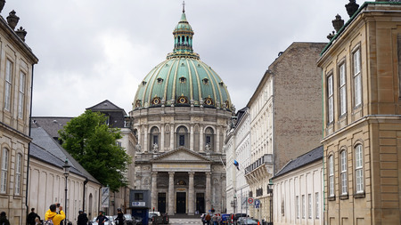 COPENHAGEN, DENMARK - MAY 31, 2017: Frederik's Church popularly known as The Marble Church Marmorkirken for its rococo architecture, is an Evangelical Lutheran church in Copenhagen, Denmark
