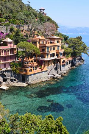 genoa: Stunning view on a beautiful italian bay of Portofino, Italy Stock Photo