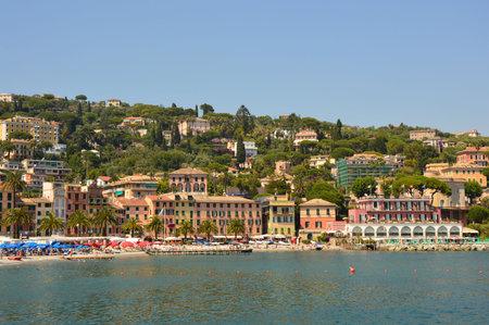 genoa: SANTA MARGHERITA LIGURE, ITALY - JUNE 13, 2017: view of beaches and seaside resorts in summertime, S. Margherita Ligure, Italy Editorial