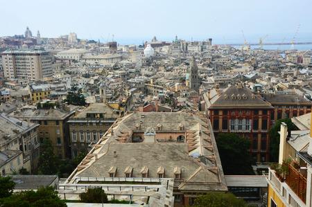 Panoramic view of Genoa city Spianata Castelletto Belvedere Montaldo, Genoa, Italy