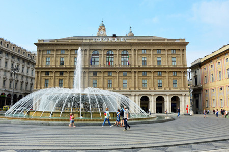 "The fountain in the middle of ""Piazza De Ferrari"", the main square of Genoa, Italy Editorial"