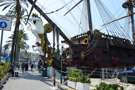 GENOA, ITALY - JUNE 15, 2017: Galleon Neptun in Porto antico in Genoa, Italy. It is a ship replica of a 17th century Spanish galleon built in 1985 for Roman Polanskis film Pirates.