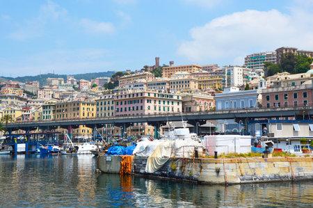 GENOA, ITALY - JUNE 15, 2017 - View of part of the Porto Antico ancient harbor of Genoa, (Genova), Italy