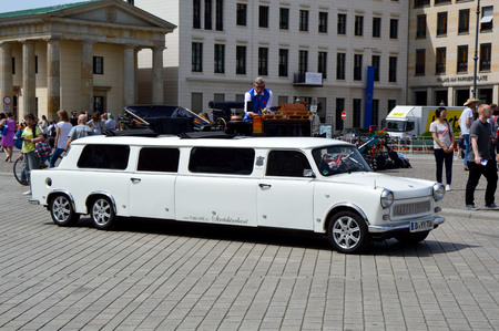 Vintage limousine Trabi XXL from the Trabant in Pariser platz square, Berlin, Germany
